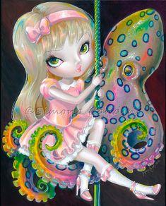 Petit poulpe Rider signée Simona impression Candini Lowbrow Pop fée surréaliste fantastique grands yeux Art Carousel