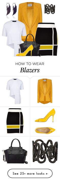 """""""Yellow blazer"""" by diane-randle on Polyvore featuring River Island, Pink Haley, Charlotte Olympia, Noor Fares and Repossi"""