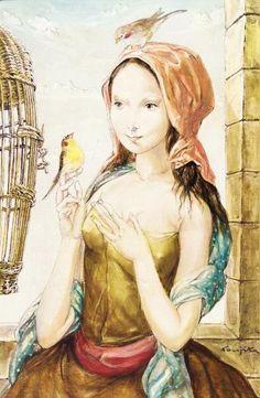 """Jeune fille à la cage aux oiseaux"" (1956) by Léonard Tsugouharu Foujita ~ 藤田 嗣治"