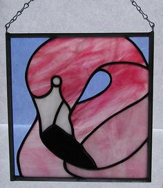 Pink Flamingo stained glass