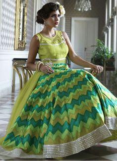 Latest Lime Green Bhagalpuri Digital Print Anarkali Suit @Rs.3099 #Fancy #Latest…