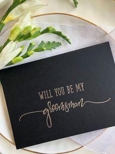 Black and Gold Groomsman Invitation Wedding Card, Groomsman Gift, Groomsman Proposal, Bridal Party Asking, wedding stationery Groomsmen Invitation, Groomsmen Gift Box, Be My Groomsman, Groomsmen Proposal, Wedding Invitation Cards, Groomsman Gifts, Wedding Stationery, Wedding Cards, Dream Wedding