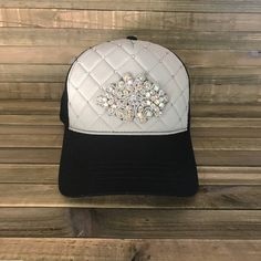 4d774a7d4da5d Fashion Gray quilted trucker hat two-toned gray and black with clear and  pink Swarovski crystals and rhinestone embellishment.