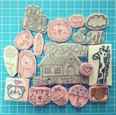 My rubber and eraser stamps by Wedgienet.net - Illustration / Design, via Flickr