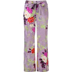 Etro floral flared trousers ($980) ❤ liked on Polyvore featuring pants, floral flare pants, floral printed pants, multi colored pants, floral trousers and floral pants