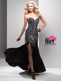 Flirt P4796 - peacock beading prom dress