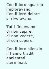 Giorno della Memoria ( 27 gennaio ). Poesia anonima proveniente dalla Scuola Media n° 4 di Nuoro. Il titolo è Soli