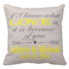 Personalized LOVE Wedding Pillow Cotton Anniversary by Jolie Marche Must get for friends wedding!