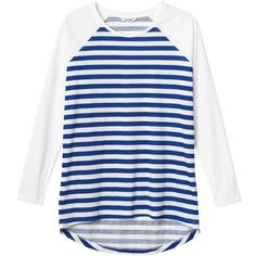 Monki Brighton tee (22 TND) ❤ liked on Polyvore featuring tops, t-shirts, shirts, long sleeved, bluzki, sleek stripes, striped shirt, striped sailor shirt, blue long sleeve shirt and long sleeve shirts
