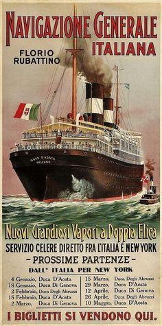 History of Vessels Travel Ads Advertising & Travel at the Beginning of the Century.- US Lines - Cunard Vintage Italian Posters, Vintage Travel Posters, Travel Ads, Bus Travel, Poster Ads, Advertising Poster, Charles Trenet, Vintage Boats, Boat Painting