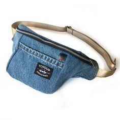 Our new Jean Fanny Pack is now available for purchase! #upcycled #handmade #denim #fannypack #summer