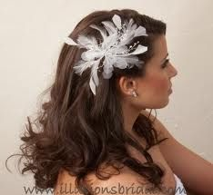 feathers wedding hair - Google Search