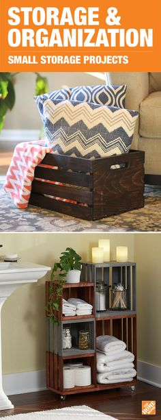 Wooden crates offer organization and storage solutions with rustic style. Whether on wheels or not, these are perfect for the bathroom, the bedroom or the living room. They can even act as an ottoman or end table. Start your DIY project with our step-by-step instructions.