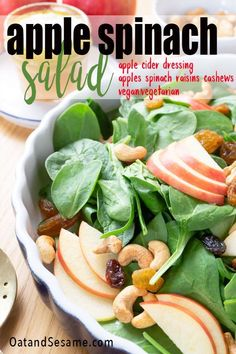 A Bright And Crisp Apple Salad Packed With Spinach, This Apple Spinach Salad With Toasted Cashews Is Dressed With A Tangy Apple Cider Vinaigrette And Mixed With Creamy Cashews And Sweet Apple And Raisins. Spinach Apple Salad, Spinach Salads, Spinach Recipes, Healthy Salad Recipes, Vegetarian Recipes, Healthy Food, Kitchen Recipes, Cooking Recipes, Cooking Tips
