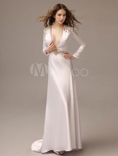Sheath White Court Train Rhinestone Evening Dress with V-Neck - Get unbeatable discounts up to 70% Off at Milanoo using Coupon & Promo Codes