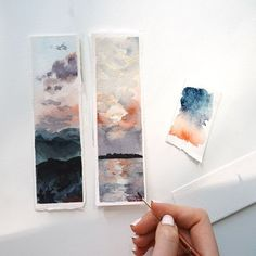 I have found a new love for painting bookmarks. There is something exciting about working on small paintings.   I have always found watercolor landscapes intimidating to paint. Only recently have I felt comfortable painting the sky. These made the perfect watercolor landscape studies.   Instagram Artist - Post - Daniel Smith Paints - Watercolor - Creative - Arches Paper Watercolor Books, Watercolor Bookmarks, Watercolor Video, Watercolor Lettering, Watercolor Brushes, Watercolor Landscape, Watercolor And Ink, Landscape Paintings, Watercolor Paintings