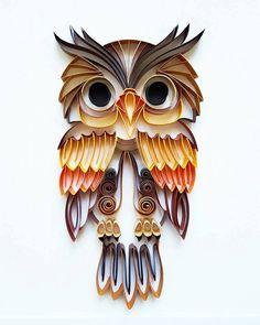 Piquants papier d'Art: Coloré hibou oeuvre à la par Gericards