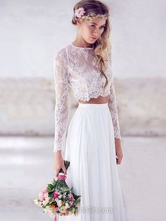 A-line Scoop Neck Lace Chiffon Floor-length Ruffles Two Piece Long Sleeve Modern Prom Dresses - dressesofgirl.com