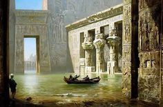 View Inside The #Temple Of Philae, Egypt 1910  By Ernst Koerner - German ,1846 - 1927  Oil on canvas , 100 cm x 150.5 cm
