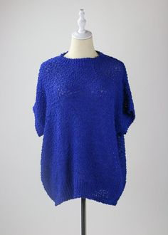Royal Blue Knit Top Girl Gang, All The Colors, Royal Blue, Tunic Tops, Colour, Knitting, Cotton, How To Wear, Spring
