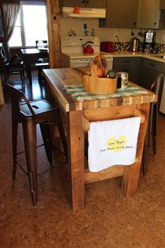 Butcher Block Kitchen Island from Reclaimed by BarnWoodFurniture