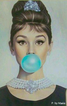 Audrey Hepburn's Tiffany Blue Blowing bubble gum bubbles Audrey Hepburn Wallpaper, Audrey Hepburn Drawing, Audrey Hepburn Poster, Audrey Hepburn Bedroom, Audrey Hepburn Illustration, Moebius Artist, Mode Rockabilly, Bubble Pictures, Azul Tiffany