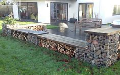 gabion seating and firewood storage by Beautiful Spaces Wilts. http://www.gabion1.co.uk