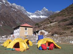 Adventure GeoTreks camping with Mt. Everest in view