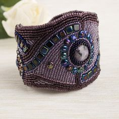 Bead embroidery cuff purple handcrafted gemstones bracelet