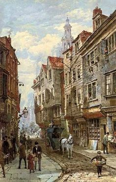 This is my third post about Victorian London, inspired by Dickens' Sketches by Boz , for the Victorian Celebration . Victorian London, Victorian Street, Victorian Village, Old London, London Art, Steampunk City, London History, Medieval Life, London Street