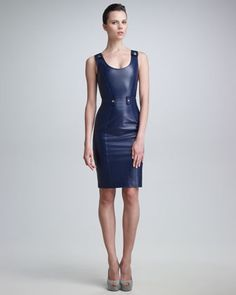 Leather Sheath Dress by Versace at Neiman Marcus.