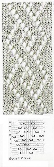 Knitting Patterns Lace Knitting pattern: The spirals of diamonds Lace Knitting Patterns, Knitting Stiches, Knitting Charts, Lace Patterns, Loom Knitting, Stitch Patterns, Knit Stitches, Free Knitting, How To Purl Knit