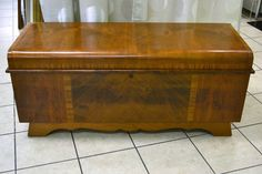 """Genuine Cedar Chest by Lane! C1949 - Burled and Booked - Art Deco Style! 46""""W x 17"""" x 20""""H  (have key but it needs some attention) - in really really lovely shape!"""
