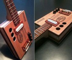 """Bust out some some bluesy jams, and tell Siri to call you """"BB King"""" with these cigar box guitars, in tobacco brands Padron 9 and El Baton. The smoke boxes are detailed and expanded, with fretted butternut necks and rosewood fretboards. A mag pickup at th"""