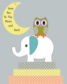 I love you to the moon and back/ owl and elephant by ThePrintedOwl, $10.00