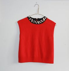 Red Knit Zebra Print Collar Cropped Top  Audrey by OtisAndTheGirl, $25.00 Cropped Top, Crop Tops, Tank Tops, Zebra Print, Vintage Inspired, Ready To Wear, Vintage Jewelry, My Etsy Shop, Vintage Fashion