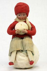 Antique-German-Bisque-Heubach-Child-On-Christmas-Candy-Container-c1910