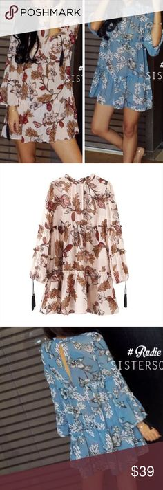 """Fall boho gypsy mini floral dress Different brands have similar styles. Absolutely breathtaking dress with intricate floral print and swing style. It is so perfectly current for 2016-2017, perfectly suited for any season. Material: rayon. Two colors: bluish pink and light blue. Shoulder/sleeve/bust/length S: 13.4""""/21.7""""/36.2""""/30.7"""" M: 13.9""""/22""""/37.8""""/31.1"""" L: 14.1""""/22.4""""/29.4""""/31.5"""" Dresses Midi"""