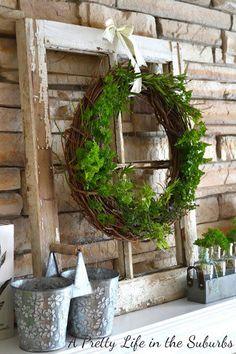 An edible wreath! A Pretty Life in the Suburbs: Fresh Herb Wreath & A Summer Mantel use chicken wire Ideas Decoracion Navidad, Diy Natal, Summer Mantel, Old Windows, Antique Windows, Vintage Windows, Rustic Windows, Cool Ideas, Décor Ideas