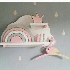 Large cloud shelf with dowels Simple Furniture, Kids Furniture, Kids Shelf, Cloud Shelves, Unicorn Bedroom, Wrens, Girls Bedroom, Living Room Designs, Police