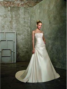 Vestido de Novia Luxury Raso Sin Tirantes Corte A Traîne mi-longue ML2511