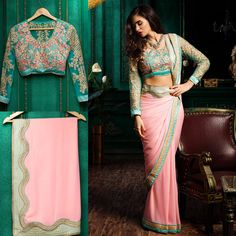 Sarees: Blue net,silk blouse with pink border.