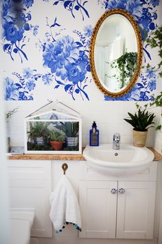 Feminine Blue Floral Wallpaper | In West Sussex, a Family Home Blossoms to Life | Design*Sponge