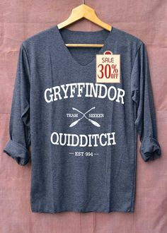 Gryffindor Shirt Quidditch Harry Potter Shirts Long Sleeve Unisex Adults Size S M L