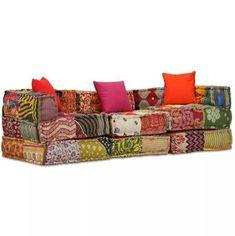 Canapea modulară cu 3 locuri Textil, Model Petice - 31 % REDUCERE - Puteți combina cu ușurință secțiunile modulare în diferite configurații și le puteți transforma pe rând în canapea, pat, scaune individuale sau taburete - orice doriți ! Este ușor de întreținut și extrem de moale iar pernele aduc un plus decorativ. Această canapea este ideală si pentru a vă bucura de vreme frumoasă pe veranda. Designul în petice poate varia si fiecare dintre canapele este unică. Lounge Couch, Sofa Couch, Sofa Pillows, Fabric Sofa, Patchwork Sofa, Vintage Sofa, Modular Sofa Bed, Places