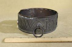 Lrg 19thC Antique *DWIM 1851* Brass Dog Collar, Perfect & Original *NR*