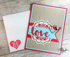 Stampin' Up! Chickstamper Happy Valentine's Day--Love Is In The Air! Sending Love, Falling Petals, Sunshine Wishes, Scenic Sayings, Lace Doilies. Click on photo for supply list! :)