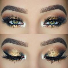 make up natural;make up glitter;make up catrina;make up… make up natural;make up glitter;make up catrina;make up inspo;make up brushes;make up samples;make up promposal;make up selfie;make up expiration; Makeup Looks For Green Eyes, Pretty Eye Makeup, Glitter Eye Makeup, Gorgeous Makeup, Green Makeup, Make Up Ideas For Green Eyes, Gold Makeup Looks, Amazing Makeup, Gold Glitter Eyeshadow