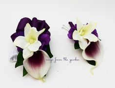 This listing is for a set with one wrist corsage and one boutonniere. This plum purple and white Real Touch Picasso calla lily boutonniere is accented with a white silk orchid bloom and is stem-wrappe                                                                                                                                                                                 More