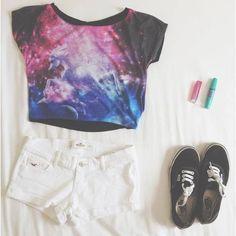 galaxy shirt, white short and black Vans .